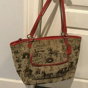Coach Leah Horse & Carriage Red Trim Large Tote